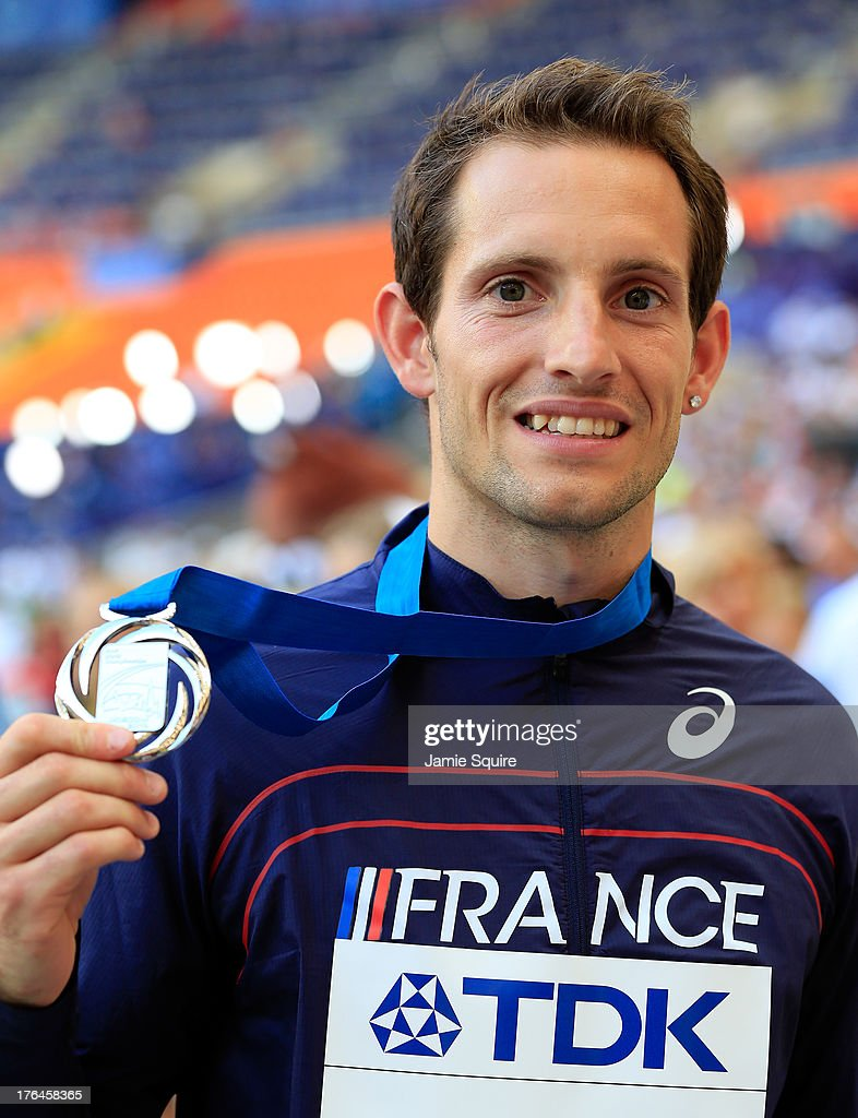 Silver medalist <a gi-track='captionPersonalityLinkClicked' href=/galleries/search?phrase=Renaud+Lavillenie&family=editorial&specificpeople=4955096 ng-click='$event.stopPropagation()'>Renaud Lavillenie</a> of France poses on the podium during the medal ceremony for the Men's Pole Vault during Day Four of the 14th IAAF World Athletics Championships Moscow 2013 at Luzhniki Stadium on August 13, 2013 in Moscow, Russia.