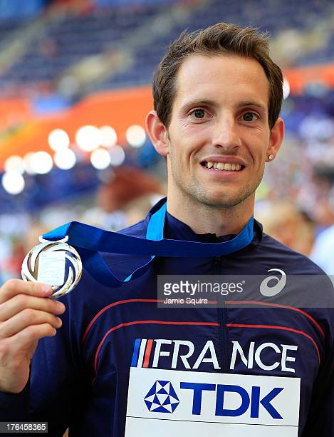 Silver medalist Renaud Lavillenie of France poses on the podium during the medal ceremony for the Men's Pole Vault during Day Four of the 14th IAAF...