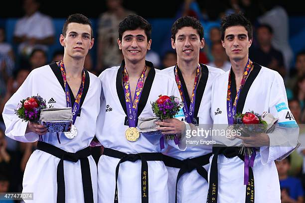 Silver medalist Robert Karol of Poland gold medalist Aykhan Taghizade of Azerbaijan and bronze medalists Alexey Denisenko of Russia and Joel Gonzalez...