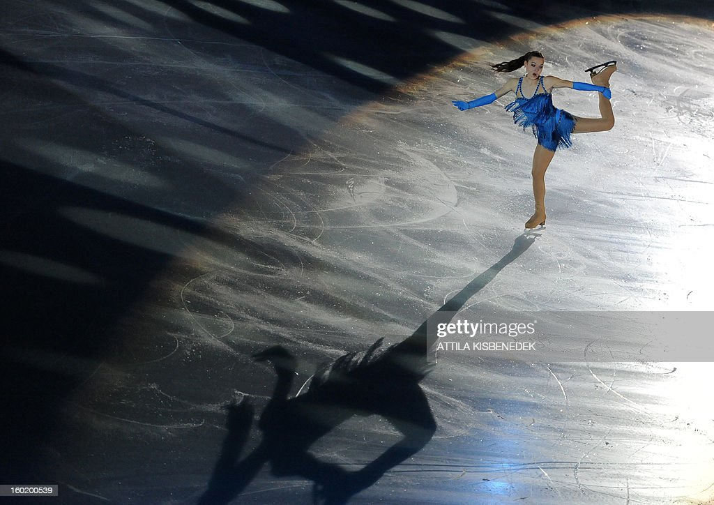 Silver medalist Russian Adelina Sotnikova performs on ice at the 'Dom Sportova' sports hall in Zagreb on January 27, 2013 during the gala of the ISU European Figure Skating Championships.