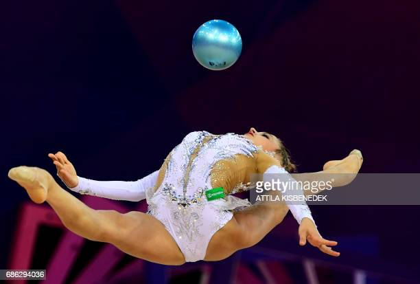TOPSHOT Silver medalist Russia's Aleksandra Soldatova performs with her ball performs during the 33rd Rhythmic Gymnastics European championships in...