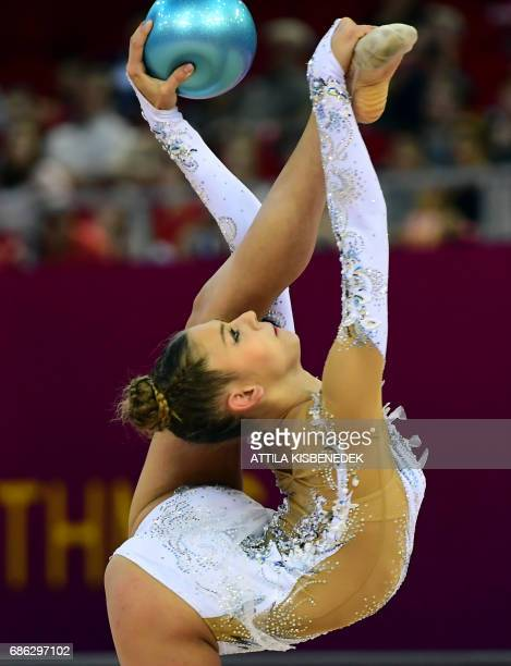 Silver medalist Russia's Aleksandra Soldatova performs with her ball performs during the 33rd Rhythmic Gymnastics European championships in Budapest...