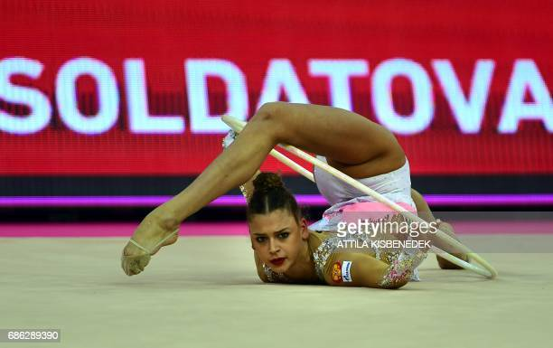 Silver medalist Russia's Aleksandra Soldatova performs with her hoop in Papp Laszlo Arena of Budapest on May 21 2017 during the apparatus final day...