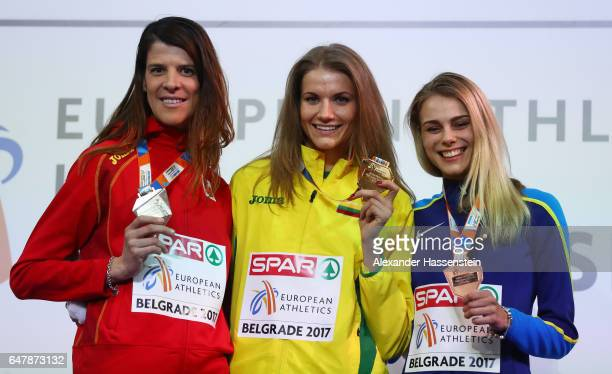 Silver medalist Ruth Beitia of Spain gold medalist Airine Palsyte of Lithuania and bronze medalist Yuliya Levchenko of Ukraine pose during the medal...