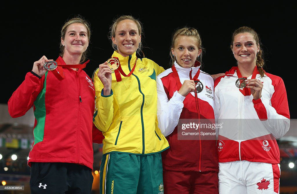 Silver medalist Sally Peake of Wales, Gold medalist <a gi-track='captionPersonalityLinkClicked' href=/galleries/search?phrase=Alana+Boyd&family=editorial&specificpeople=4094944 ng-click='$event.stopPropagation()'>Alana Boyd</a> of Australia and bronze medalists Sally Scott of England and Alysha Newman of Canada on the podium during the medal ceremony for the Women's Pole Vault at Hampden Park during day ten of the Glasgow 2014 Commonwealth Games on August 2, 2014 in Glasgow, United Kingdom.