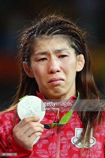 Silver medalist Saori Yoshida of Japan reacts during the medal ceremony after the Women's Freestyle 53 kg competition on Day 13 of the Rio 2016...