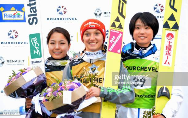 Silver medalist Sara Takanashi of Japan gold medalist Katharina Althaus of Germany and bronze medalist Yuki Ito of Japan pose on the podium at the...