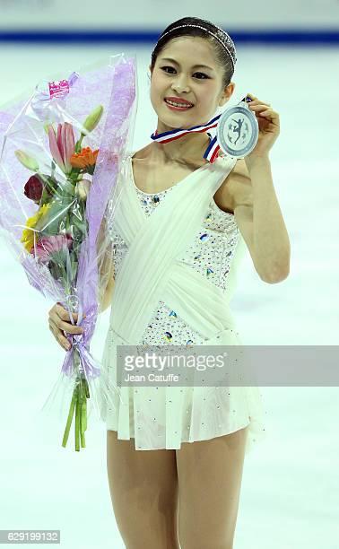 Silver medalist Satoko Miyahara of Japan celebrates during Senior Ladies medal ceremony on day three of the ISU Grand Prix of Figure Skating 2016 at...