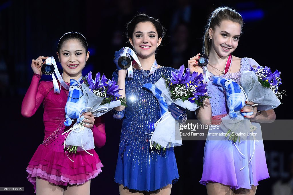 Silver medalist Satoko Miyahara of Japan, Gold medalist Evgenia Medvedeva of Russia and Bronze medalist Elena Radionova of Russia pose during the Ladies final medal ceremony during day three of the ISU Grand Prix of Figure Skating Final 2015/2016 at the Barcelona International Convention Centre on December 12, 2015 in Barcelona, Spain.