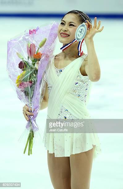 Silver medalist Satoko Miyahara of Japan poses during Senior Ladies medal ceremony on day three of the ISU Grand Prix of Figure Skating 2016 at...