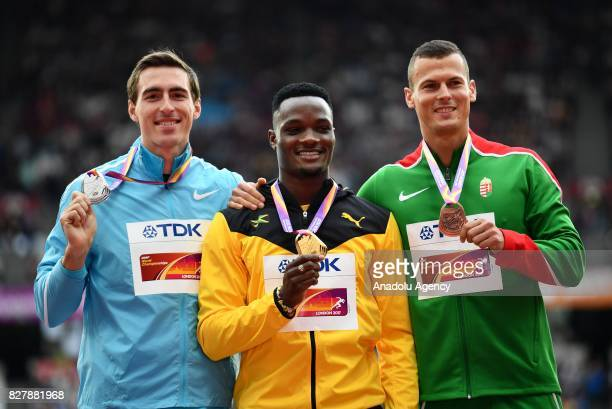 Silver medalist Sergey Shubenkov of Authorised Neutral Athletes gold medalist Omar McLeod of Jamaica and bronze medalist Balazs Baji of Hungary pose...