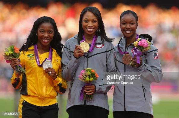 Silver medalist ShellyAnn FraserPryce of Jamaica gold medalist Allyson Felix of the United States and bronze medalist Carmelita Jeter of the United...