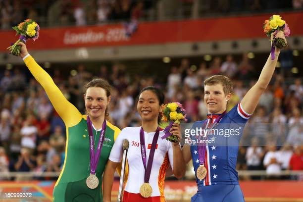 Silver medalist Simone Kennedy of Australia Gold medalist Sini Zeng of China and Bronze medalist Allison Jones of the United States pose on the...