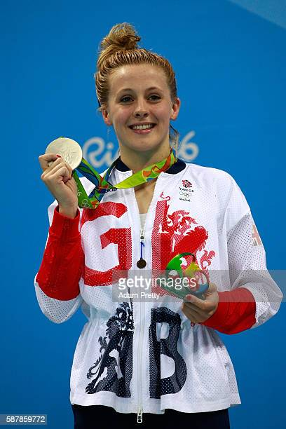 Silver medalist SiobhanMarie O'Connor of Great Britain poses on the podium during the medal ceremony for the Women's 200m Individual Medley Final on...