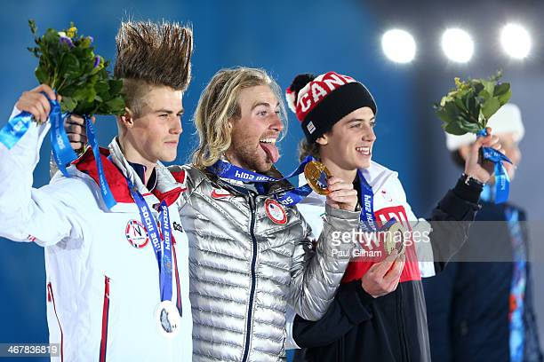 Silver medalist Staale Sandbech of Norway gold medalist Sage Kotsenburg of the United States and bronze medalist Mark McMorris of Canada on the...