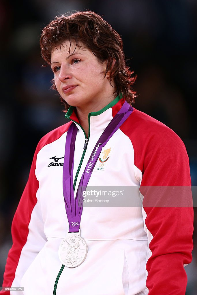 Silver medalist Stanka Zlateva Hristova of Bulgaria celebrates winning the silver medal in the Women's Freestyle 72 kg Wrestling on Day 13 of the London 2012 Olympic Games at ExCeL on August 9, 2012 in London, England.