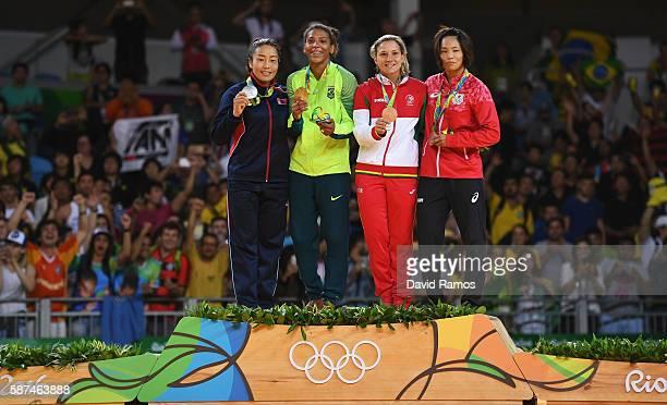 Silver medalist Sumiya Dorjsuren of Mongolia gold medalist Rafaela Silva of Brazil bronze medalist Telma Monteiro of Portugal and bronze medalist...