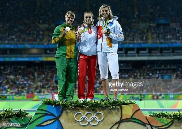 Silver medalist Sunette Viljoen of South Africa gold medalist Sara Kolak of Croatia and bronze medalist Barbora Spotakova of the Czech Republic pose...