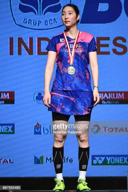 Silver medalist Sung Ji Hyun of Korea celebrates on the podium during Women's Single medals ceremony of the BCA Indonesia Open 2017 at Plenary Hall...