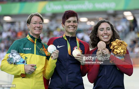 Silver medalist Susan Powell of Australia gold medalist Shawn Morelli of the United States and bronze medalist Megan Fisher of the United States...
