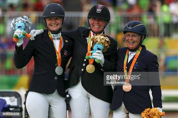 Silver medalist Susanne Sunesen gold medalist Ann Cathrin Lubbe of Norway bronze medalist Louise Etzner Jakobsson of Sweden celebrate on the podium...