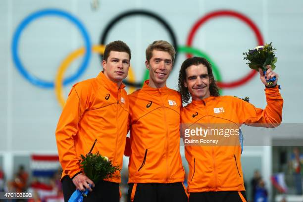 Silver medalist Sven Kramer of the Netherlands gold medalist Jorrit Bergsma of the Netherlands and bronze medalist Bob de Jong of the Netherlands...