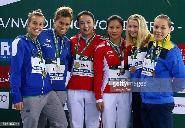 Silver medalist Tania Cagnotto and Francesca Dallape of Italy Gold medalist Zi He and Han Wang of China Bronze medalist Victoriya Kesar and...