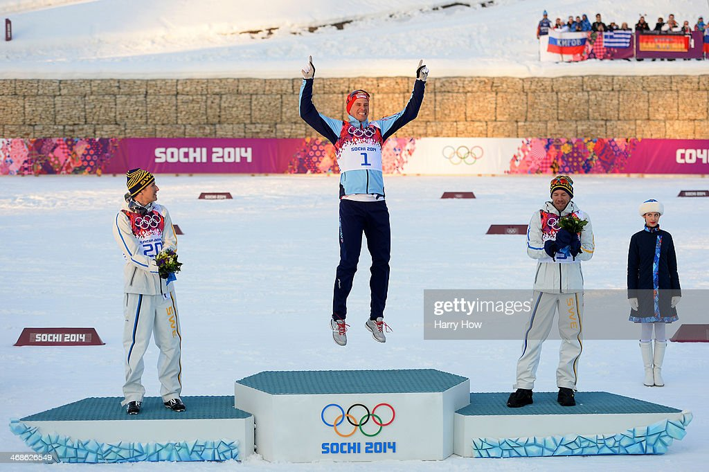 Silver medalist <a gi-track='captionPersonalityLinkClicked' href=/galleries/search?phrase=Teodor+Peterson&family=editorial&specificpeople=6567370 ng-click='$event.stopPropagation()'>Teodor Peterson</a> of Sweden, gold medalist <a gi-track='captionPersonalityLinkClicked' href=/galleries/search?phrase=Ola+Vigen+Hattestad&family=editorial&specificpeople=870030 ng-click='$event.stopPropagation()'>Ola Vigen Hattestad</a> of Norway and bronze medalist <a gi-track='captionPersonalityLinkClicked' href=/galleries/search?phrase=Emil+Joensson&family=editorial&specificpeople=4045550 ng-click='$event.stopPropagation()'>Emil Joensson</a> of Sweden celebrate on the podium during the flower ceremony for the Finals of the Men's Sprint Free during day four of the Sochi 2014 Winter Olympics at Laura Cross-country Ski & Biathlon Center on February 11, 2014 in Sochi, Russia.