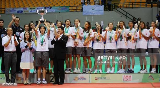 Silver medalist Thailand team celebrate on the podium during the 19th Asian Senior Women's Volleyball Championship 2017 awarding ceremony at Alonte...