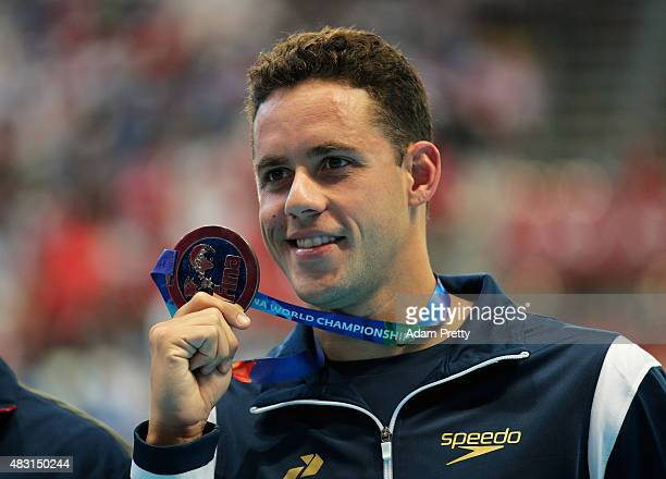 Silver medalist Thiago Pereira of Brazil poses during the medal ceremony for the Men's 200m Individual Medley Final on day thirteen of the 16th FINA...