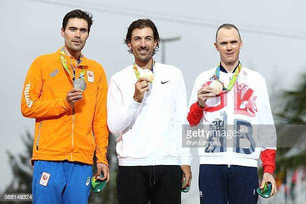 Silver medalist Tom Dumoulin of the Netherlands gold medalist Fabian Cancellara of Switzerland and ronze medalist Christopher Froome of Great Britain...