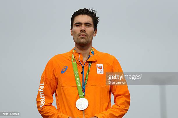 Silver medalist Tom Dumoulin of the Netherlands stands on the podium at the medal ceremony for the Cycling Road Men's Individual Time Trial on Day 5...