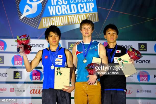 Silver medalist Tomoa Narasaki of Japan gold medalist Aleksei Rubtsov of Russia and bronze medalist Keita Watabe of Japan celebrate on the podium at...