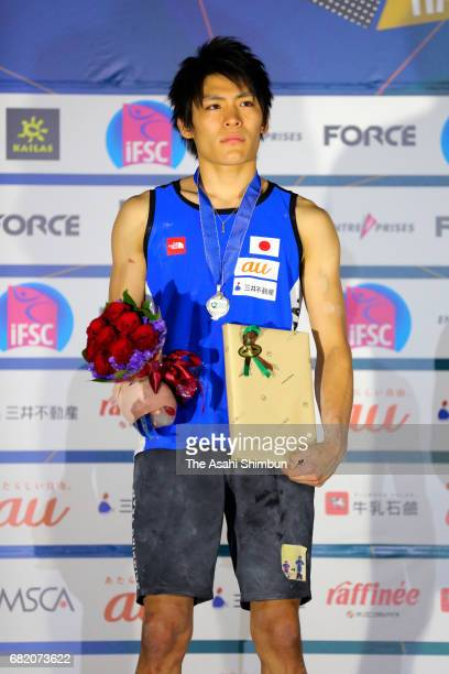 Silver medalist Tomoa Narasaki of Japan poses on the podium at the medal ceremony for the Men's Bouldering during the IFSC Climbing Worldcup Hachioji...