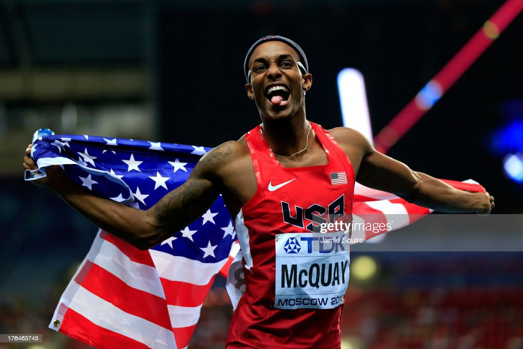 Silver medalist <a gi-track='captionPersonalityLinkClicked' href=/galleries/search?phrase=Tony+McQuay&family=editorial&specificpeople=7895595 ng-click='$event.stopPropagation()'>Tony McQuay</a> of the United States celebrates after the Men's 400 metres final during Day Four of the 14th IAAF World Athletics Championships Moscow 2013 at Luzhniki Stadium on August 13, 2013 in Moscow, Russia.