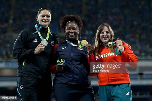 Silver medalist Valerie Adams of New Zealand Gold medalist Michelle Carter of the United States and Bronze Medialist Anita Marton of Hungary...