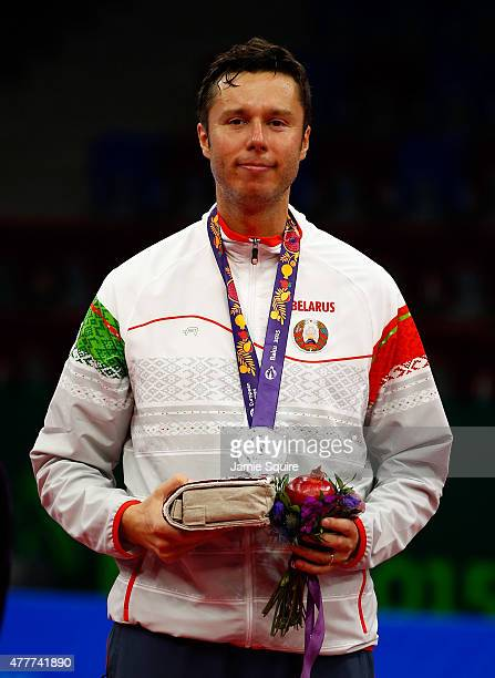 Silver medalist Vladimir Samsonov of Belarus stands on the podium after the Men's Table Tennis Finals during day seven of the Baku 2015 European...