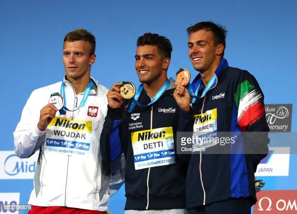 Silver medalist Wojciech Wojdak of Poland gold medalist Gabriele Detti of Italy and bronze medalist Gregorio Paltrinieri of Italy pose with the...