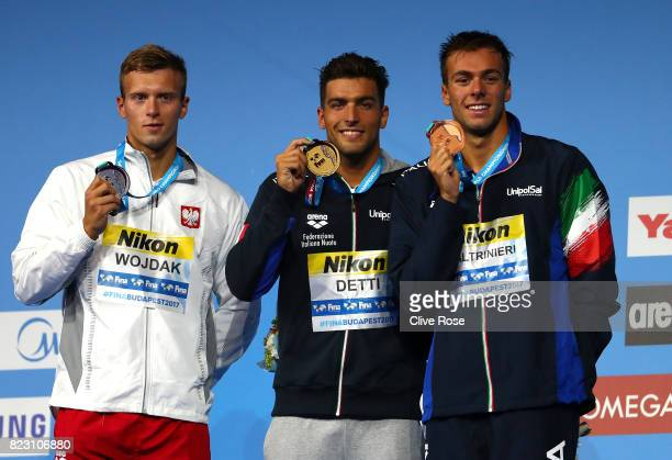 Silver medalist Wojciech Wojdak of Poland gold medalist Gabriele Detti of Italy and bronze medalist Gregorio Paltrinieri of Italy pose with the...