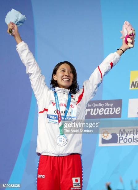 Silver medalist Yui Ohashi of Japan celebrates at the medal ceremony for the Women's 200m Individual Medley on day eleven of the Budapest 2017 FINA...