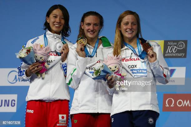 Silver medalist Yui Ohashi of Japan gold medalist Katinka Hosszu of Hungary and bronze medalist Madisyn Cox of the United States 200m Individual...