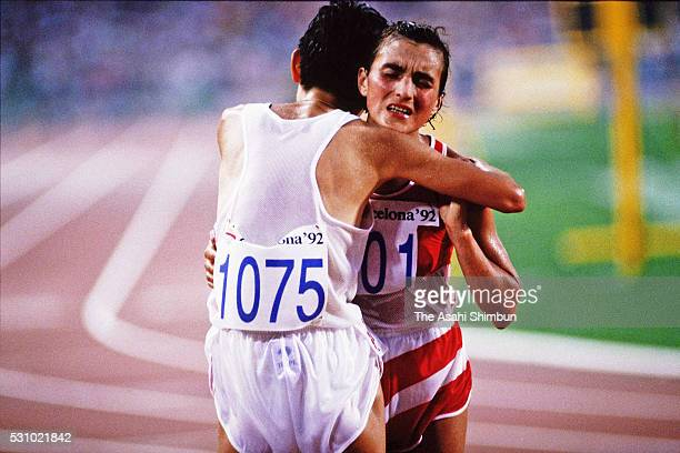 Silver medalist Yuko Arimori of Japan congratulates gold medalist Valentina Yegorova of the Unified Team after the Women's Marathon during the...