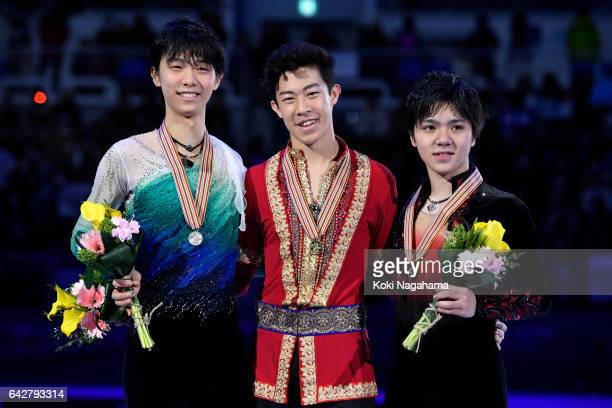 Silver medalist Yuzuru Hanyu of Japan and Gold medalist Nathan Chen of United States and Bronze medalist Shoma Uno of Japan pose after the medal...