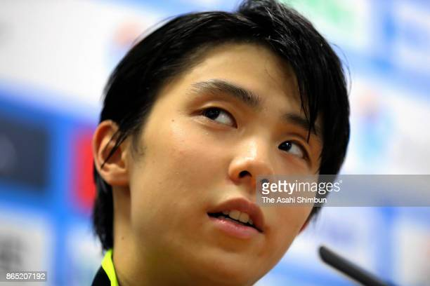 Silver medalist Yuzuru Hanyu of Japan attends a press conference after the Men's Singles Free Skating during day two of the ISU Grand Prix of Figure...