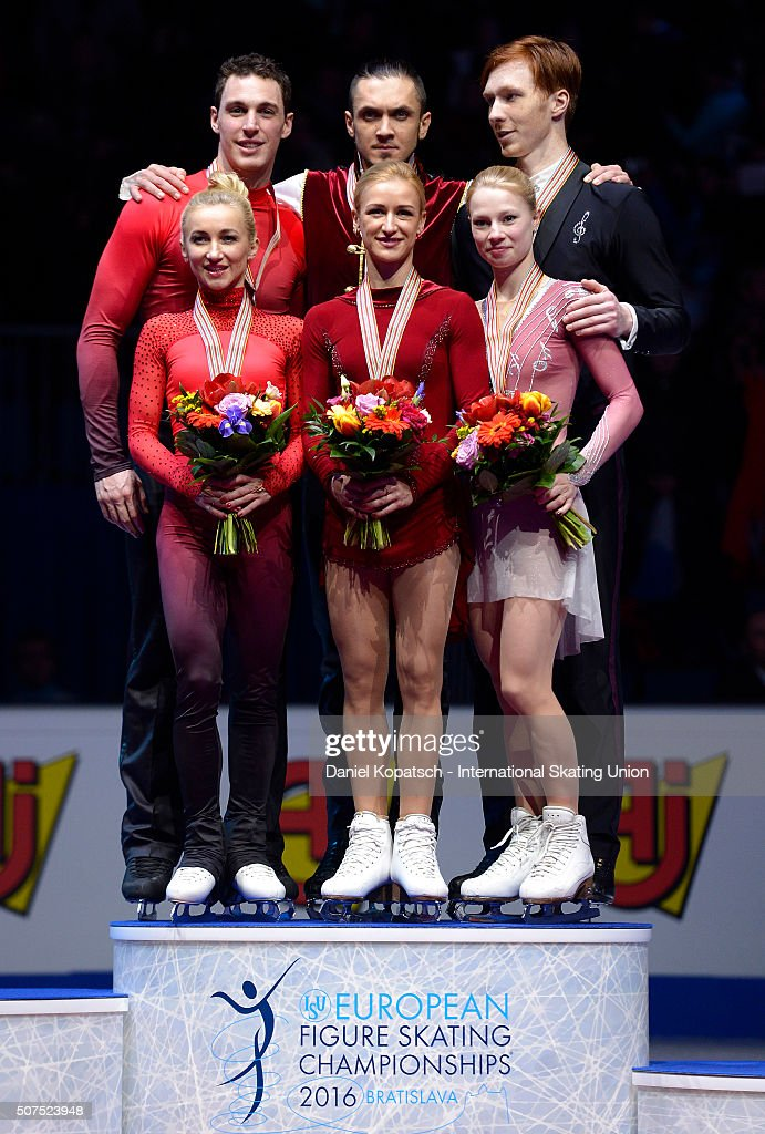 Silver medalists <a gi-track='captionPersonalityLinkClicked' href=/galleries/search?phrase=Aliona+Savchenko&family=editorial&specificpeople=247200 ng-click='$event.stopPropagation()'>Aliona Savchenko</a> and Bruno Massot of Germany (L-R), gold medalists <a gi-track='captionPersonalityLinkClicked' href=/galleries/search?phrase=Tatiana+Volosozhar&family=editorial&specificpeople=798077 ng-click='$event.stopPropagation()'>Tatiana Volosozhar</a> and <a gi-track='captionPersonalityLinkClicked' href=/galleries/search?phrase=Maxim+Trankov&family=editorial&specificpeople=798054 ng-click='$event.stopPropagation()'>Maxim Trankov</a> of Russia and Evgenia Tarasova and <a gi-track='captionPersonalityLinkClicked' href=/galleries/search?phrase=Vladimir+Morozov&family=editorial&specificpeople=6614710 ng-click='$event.stopPropagation()'>Vladimir Morozov</a> of Russia pose during the medal ceremony of Pairs Skating on day four of the ISU European Figure Skating Champinships 2016 on January 30, 2016 in Bratislava, Slovakia.