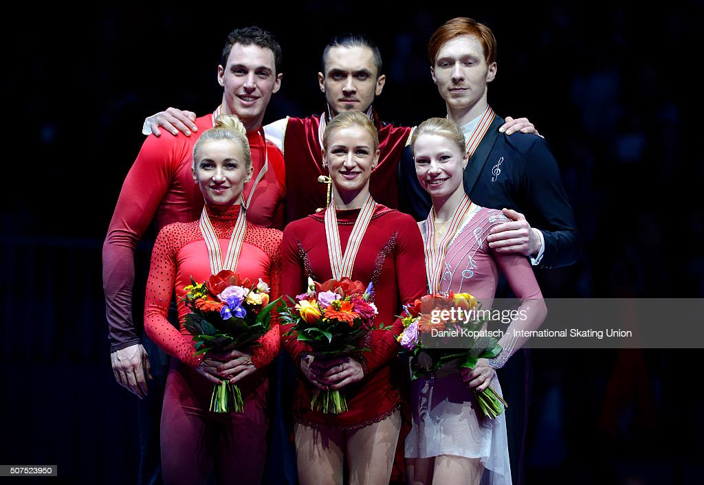 Silver medalists <a gi-track='captionPersonalityLinkClicked' href=/galleries/search?phrase=Aliona+Savchenko&family=editorial&specificpeople=247200 ng-click='$event.stopPropagation()'>Aliona Savchenko</a> and <a gi-track='captionPersonalityLinkClicked' href=/galleries/search?phrase=Bruno+Massot&family=editorial&specificpeople=4691275 ng-click='$event.stopPropagation()'>Bruno Massot</a> of Germany (L-R), gold medalists <a gi-track='captionPersonalityLinkClicked' href=/galleries/search?phrase=Tatiana+Volosozhar&family=editorial&specificpeople=798077 ng-click='$event.stopPropagation()'>Tatiana Volosozhar</a> and <a gi-track='captionPersonalityLinkClicked' href=/galleries/search?phrase=Maxim+Trankov&family=editorial&specificpeople=798054 ng-click='$event.stopPropagation()'>Maxim Trankov</a> of Russia and <a gi-track='captionPersonalityLinkClicked' href=/galleries/search?phrase=Evgenia+Tarasova&family=editorial&specificpeople=10518913 ng-click='$event.stopPropagation()'>Evgenia Tarasova</a> and Vladimir Morozov of Russia pose during the medal ceremony of Pairs Skating on day four of the ISU European Figure Skating Champinships 2016 on January 30, 2016 in Bratislava, Slovakia.