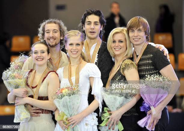 Silver medalists Allie HannMccurdy and Michael Coreno of Canada gold medalists Kaitlyn Weaver and Andrew Poje of Canada and bronze medalists Madison...