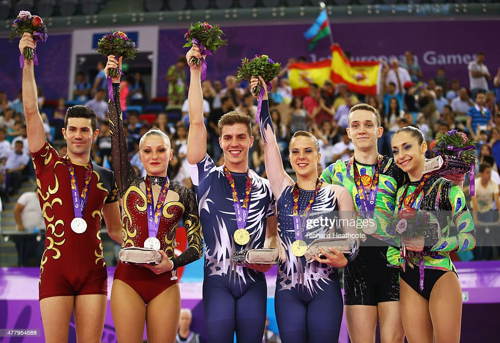 Silver medalists Davide Donati and Michela Castoldi of Italy gold medalists Vicente Lli Lloris and Sara Moreno Lopez of Spain and bronze medalists...