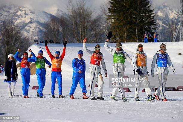 Silver medalists Dmitriy Japarov Alexander Bessmertnykh Alexander Legkov Maxim Vylegzhanin of Russia gold medalists Lars Nelson Daniel Richardsson...