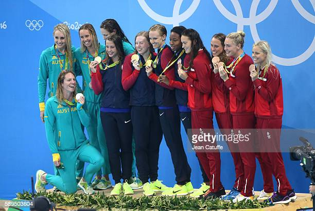 Silver medalists Emily Seebohm Taylor McKeown Emma McKeon and Cate Campbell of Australia Gold medalists Kathleen Baker Lilly King Dana Vollmer and...
